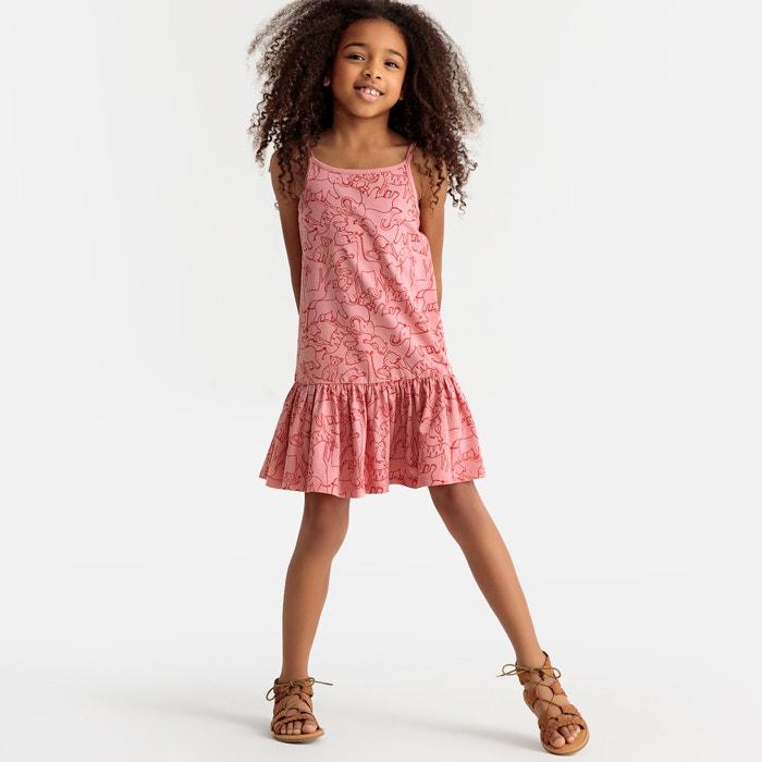 5f7681524549 Vestido patinadora con tirantes finos y estampado, 3-12 años rosa La  Redoute Collections | La Redoute