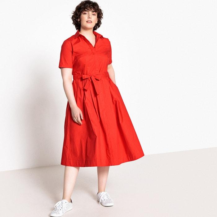 57b3fcb69a5 Poplin flared midi shirt dress bright red Castaluna Plus Size
