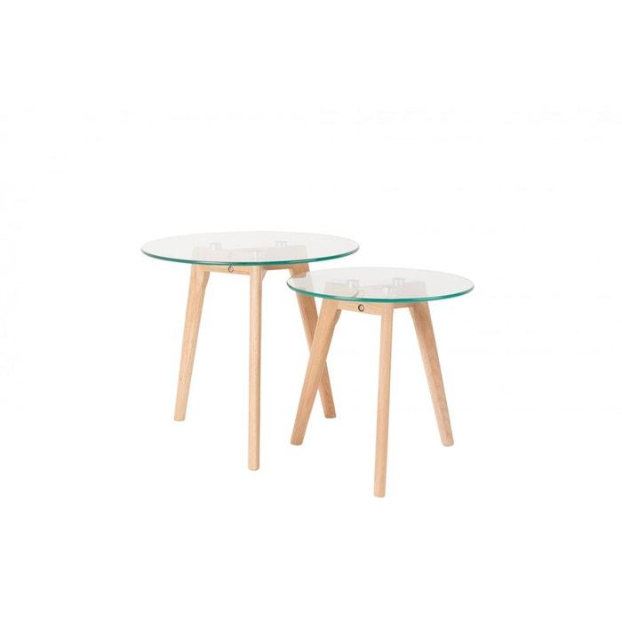 tables basses scandinave bror en verre et ch ne massif set de 2 transparent boite a design. Black Bedroom Furniture Sets. Home Design Ideas