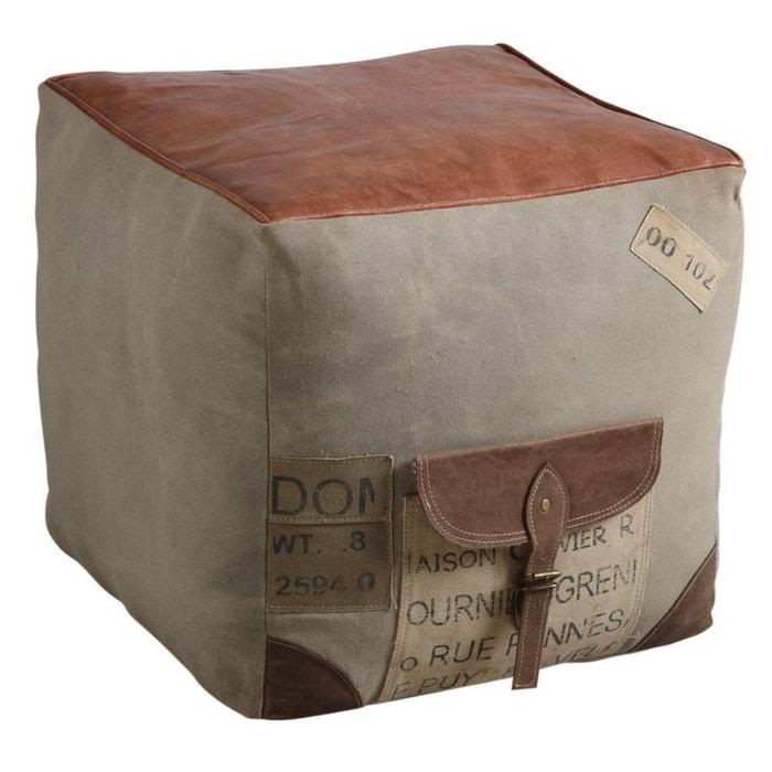 pouf carr en coton et cuir marron aubry gaspard la redoute. Black Bedroom Furniture Sets. Home Design Ideas