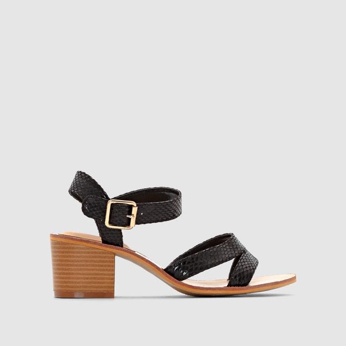 Heeled Snakeskin Print Sandals  CASTALUNA PLUS SIZE image 0