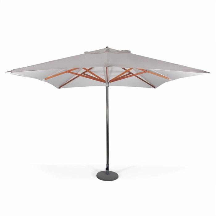 parasol tr s haut de gamme carr seapoint 3x3m blanc inox et bois ouverture automatique blanc. Black Bedroom Furniture Sets. Home Design Ideas