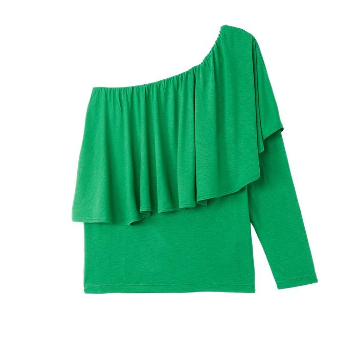 T-shirt asimmetrica e volant, maniche lunghe  La Redoute Collections image 0