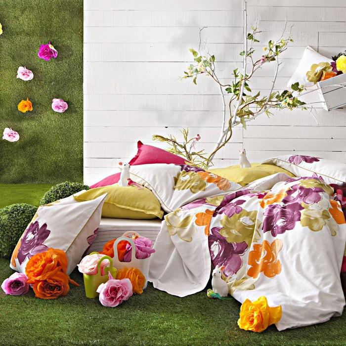 taie d 39 oreiller en satin de coton po me multicolore blanc essix la redoute. Black Bedroom Furniture Sets. Home Design Ideas
