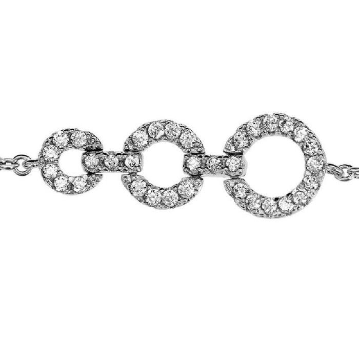 Bracelet longueur réglable: 16 à 18 cm 3 anneaux oxyde de zirconium blanc argent 925 couleur unique So Chic Bijoux   La Redoute Jeu Fiable h9gqTNb