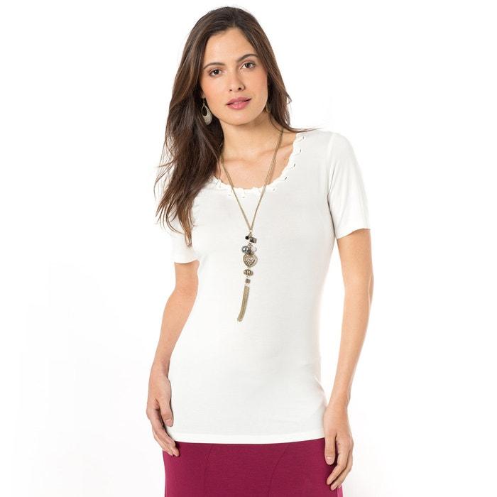 Image Gładki T-shirt z okrągłym dekoltem i krótkim rękawem ANNE WEYBURN