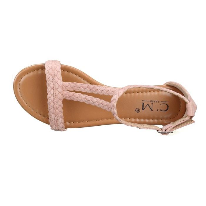 Sandales à tresses rose Leader Mode