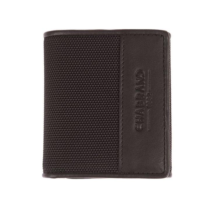 Petit portefeuille 2 volets Chabrand en toile noire garnie de cuir de vachette TABGANHRJ