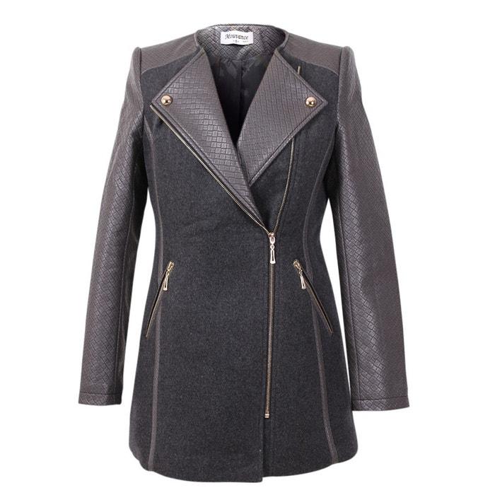 Manteau gris bi matiere