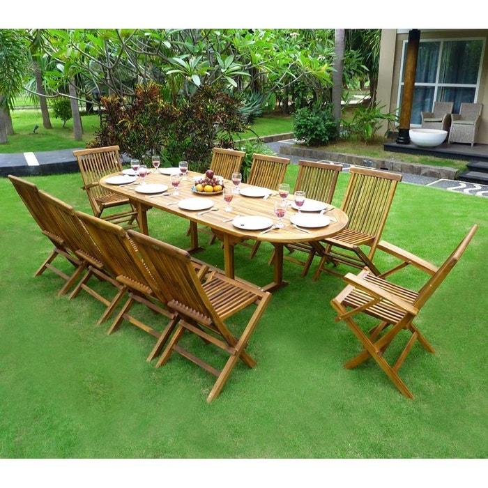 Salon de jardin en teck - ensemble pour 10 personnes - 8 chaises 2 ...
