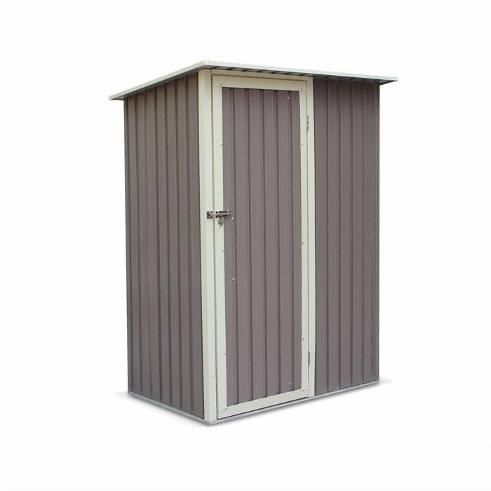 abri de jardin en m tal lys 1 36m gris taupe porte. Black Bedroom Furniture Sets. Home Design Ideas
