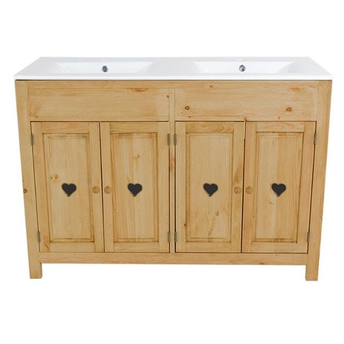 Meuble salle de bain pin massif 4 portes avec coeur double vasque ...