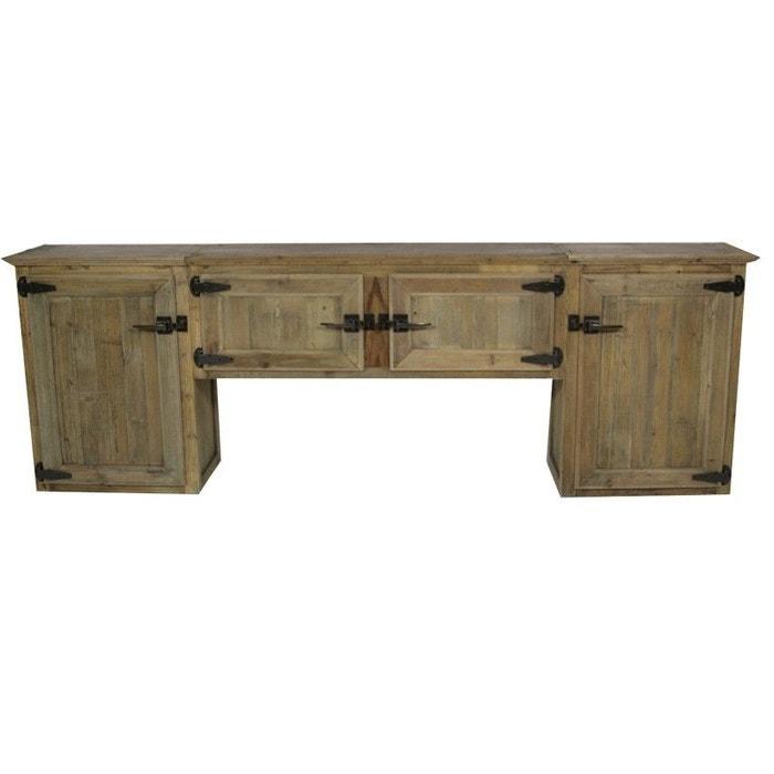 Meuble mural cuisine bois recycl poign es frigo op1003 bois made in meuble - Meuble cuisine la redoute ...