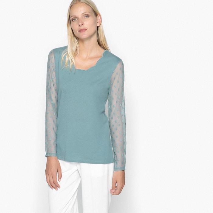 T-shirt in due tessuti, maglia a rete ricamata  ANNE WEYBURN image 0