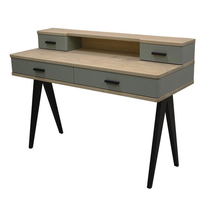 bureau 4 tiroirs style scandinave ch ne blanchi et laqu. Black Bedroom Furniture Sets. Home Design Ideas