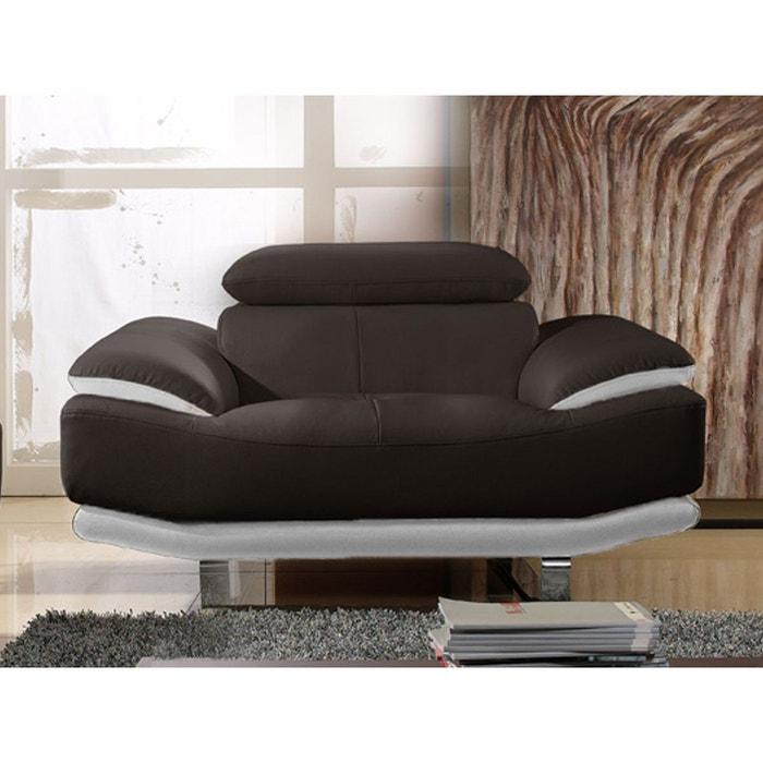 fauteuil cuir osmoz marron et blanc la maison du canape. Black Bedroom Furniture Sets. Home Design Ideas