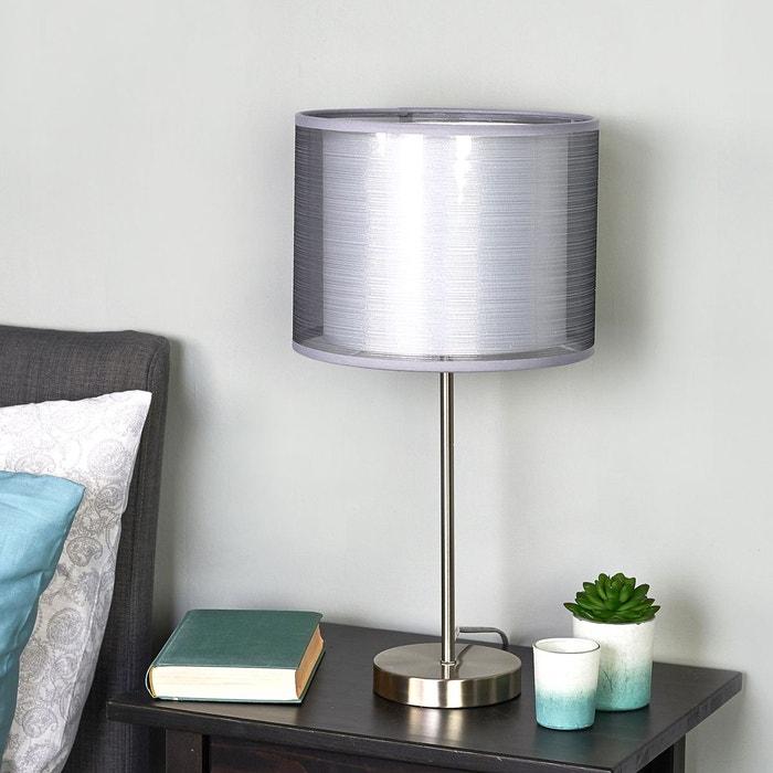 lampe poser grise nica double abat jour en tissu gris blanc nickel mat lampenwelt la redoute. Black Bedroom Furniture Sets. Home Design Ideas