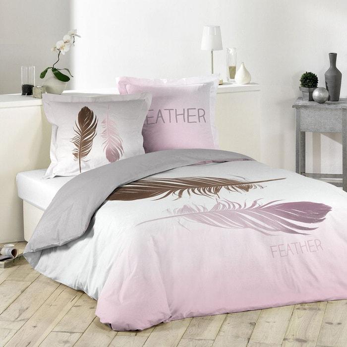 Parure de lit double plumes blanc home maison la redoute for Parure lit double