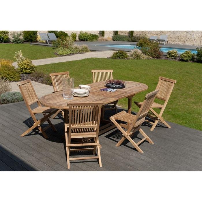 Salon De Jardin Teck Table Ovale 180x100cm 6 Chaises Summer Table