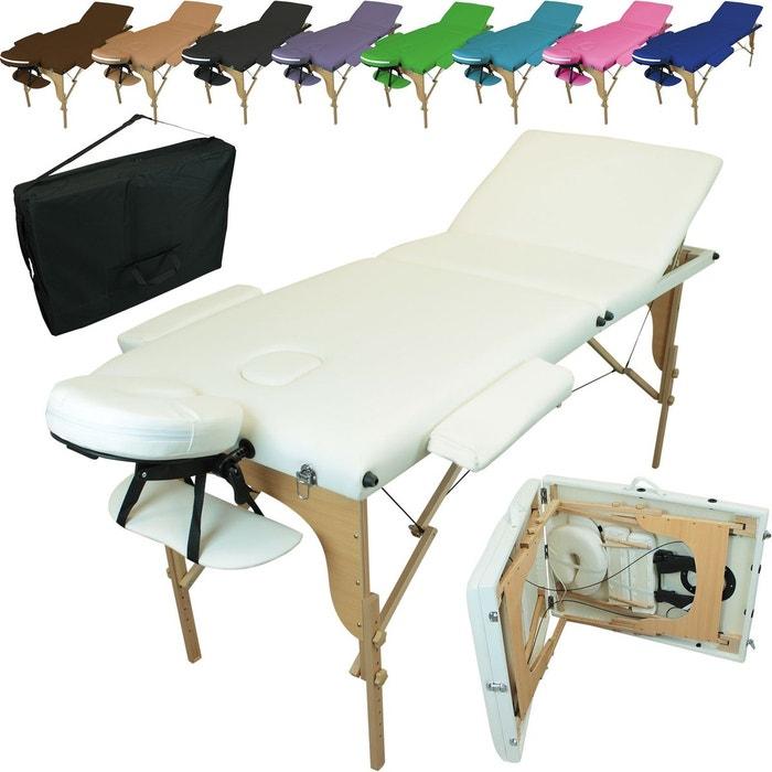 table de massage pliante 3 zones en bois avec panneau reiki accessoires et housse de transport. Black Bedroom Furniture Sets. Home Design Ideas