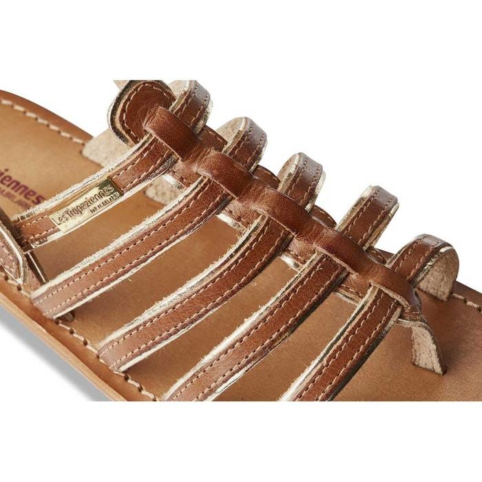 Sandales cuir entre-doigts herbier tan/or Les Tropeziennes Par M Belarbi