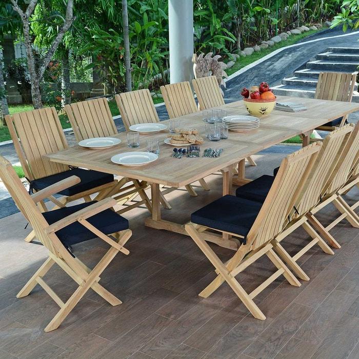 Salon de jardin en teck qualité ecograde malaga, 12 places naturel ...