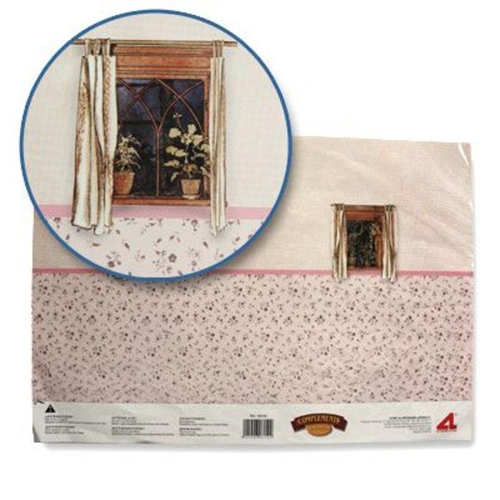 Accessoires pour maison de poupées : Murs et sols : Papier trompe-l'oeil avec fenêtres et tapisserie ARTESANIA BEATRIZ