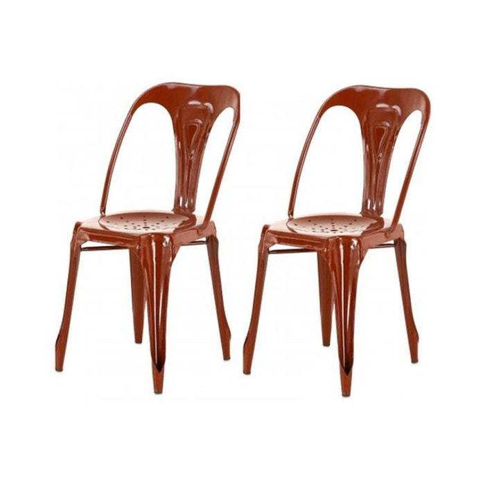 lot de 2 chaises industrielles rouge marsala m tal kirk rouge declikdeco la redoute. Black Bedroom Furniture Sets. Home Design Ideas