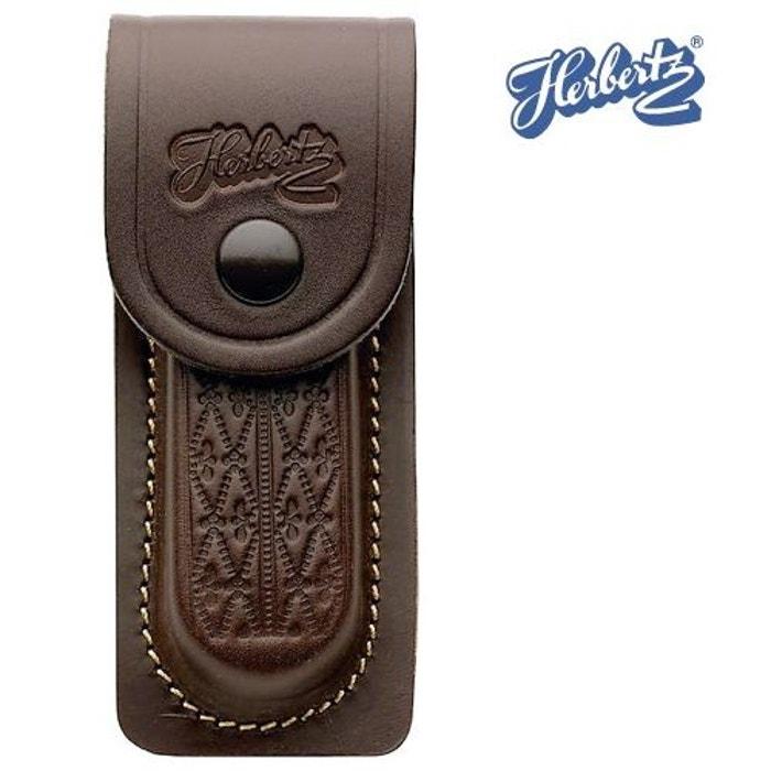 ed957ee29c0 Etui ceinture en cuir marron herbertz - pour couteau pliant de 13 cm de manche  marron Herbertz