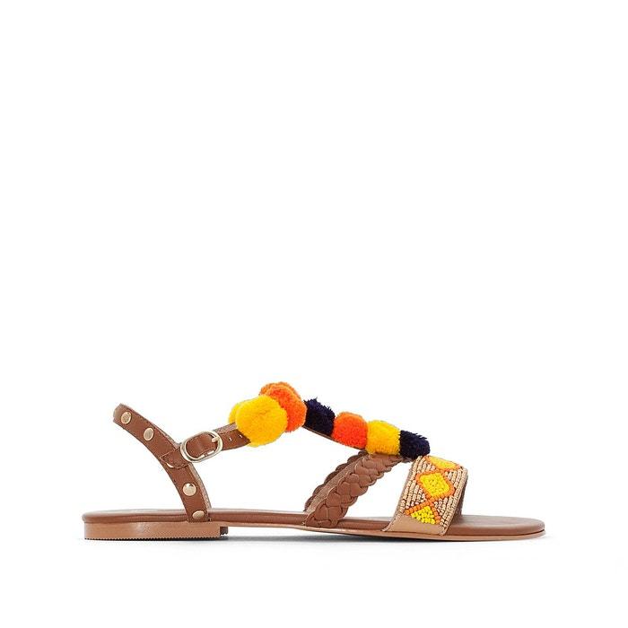 Sandales cuir détail pompons   multicolore La Redoute Collections   La Redoute