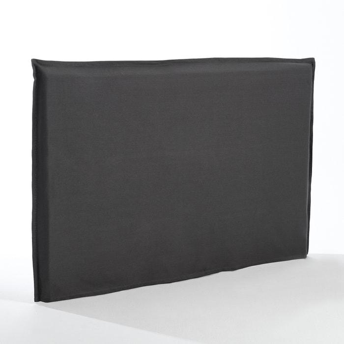 Housse t te de lit coton sandor gris carbone am pm la for Housse tete de lit la redoute