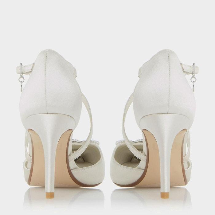 Escarpins à brides croisées avec broche ornée de bijoux fantaisie - deeana ivoire satin Dune London