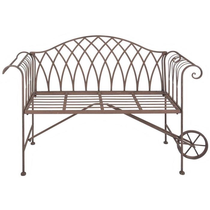 Banc de jardin brouette en m tal brun esschert design la for Banc jardin metal