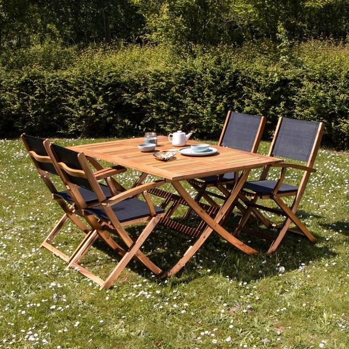 Salon de jardin en bois d\'acacia fsc noir 4 places acacia Bois ...