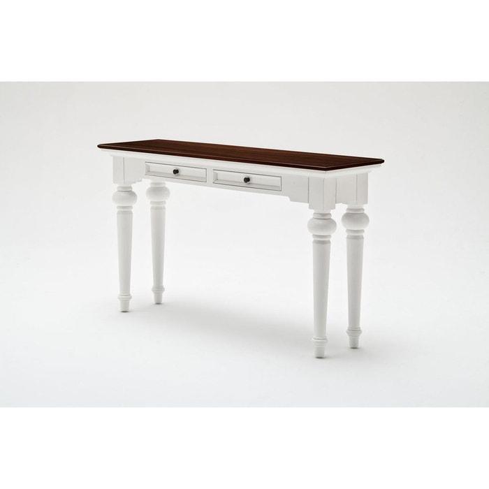 console en bois blanc avec plateau acajou 2 tiroirs 140x80cm royan