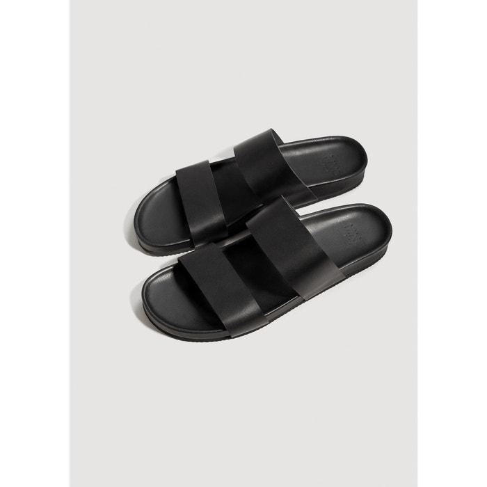 Sandales cuir noir Mango Man
