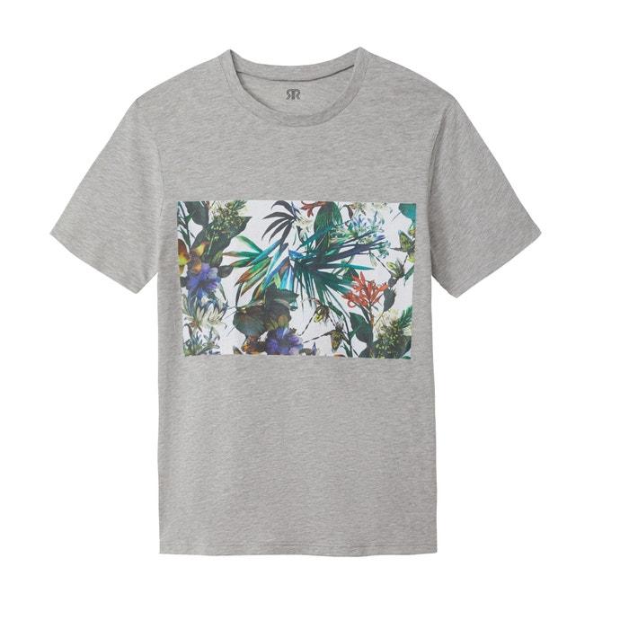 T-shirt scollo rotondo, motivo fantasia, Slub  La Redoute Collections image 0