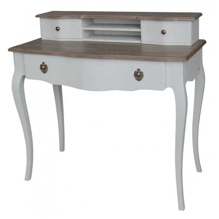 Bureau shabby romantique 3 tiroirs amadeus patine gris e for Bureau style romantique