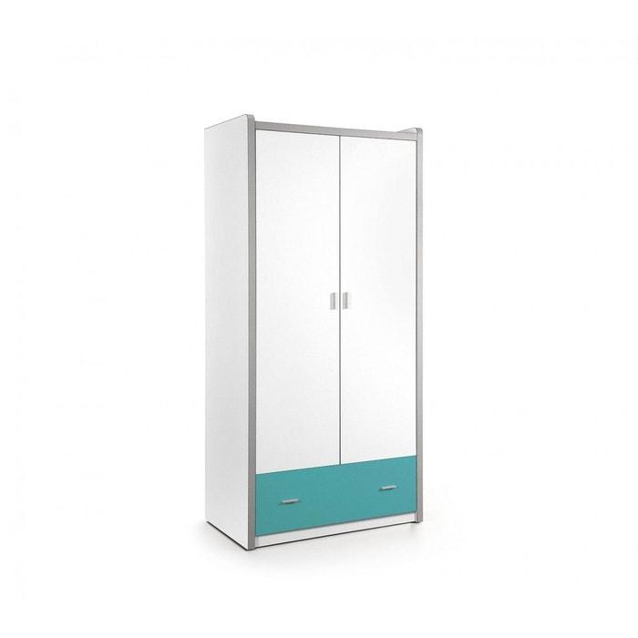 Armoire 2 portes blanche et bleu turquoise blanc Terre De Nuit | La ...