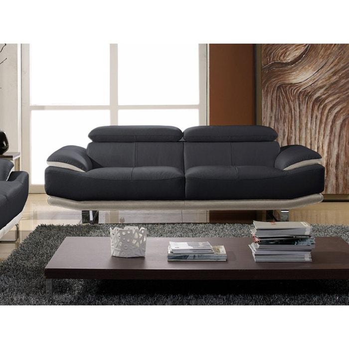 canap cuir 3 places osmoz noir et beige la maison du canape la redoute. Black Bedroom Furniture Sets. Home Design Ideas