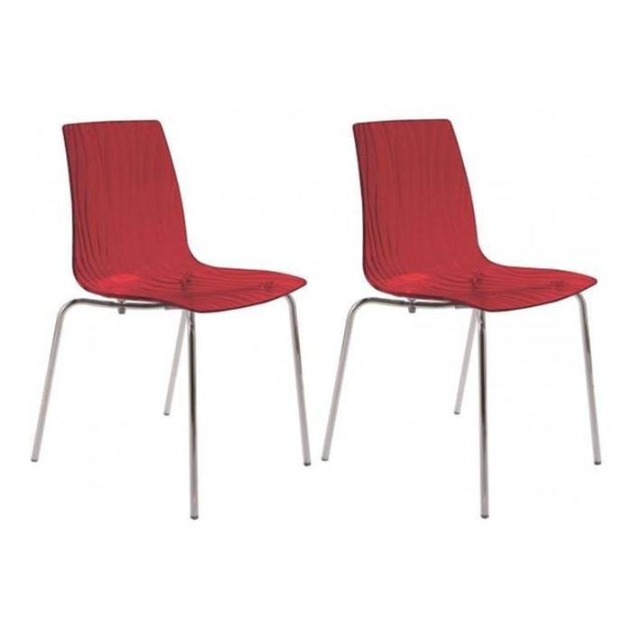 Lot de 2 chaises design transparentes rouges olympie couleur unique declikdeco la redoute - Chaise transparente couleur ...