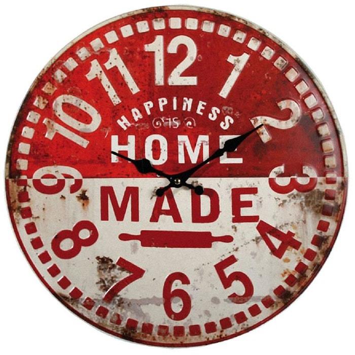 Pendule ronde murale vintage couleur unique outwell la redoute for Pendule cuisine rouge