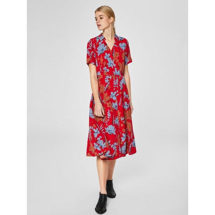 0c1858ba04c Robe mi-longue imprimé fleuri - rouge salsa Selected Femme
