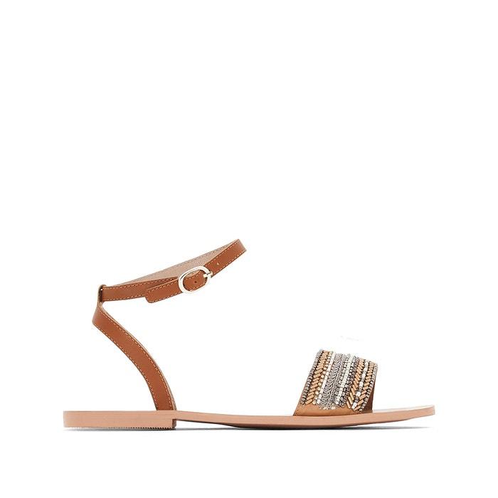 flache leder sandalen mit perlen tan mademoiselle r la. Black Bedroom Furniture Sets. Home Design Ideas