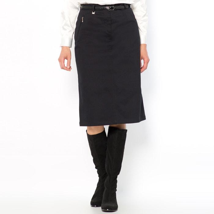 Stretch Cotton Satin Pencil Skirt, Length 64cm  ANNE WEYBURN image 0