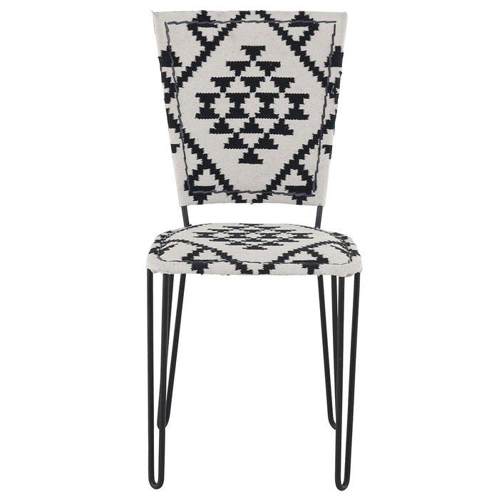 chaise jute et m tal diego noir et blanc zago la redoute. Black Bedroom Furniture Sets. Home Design Ideas