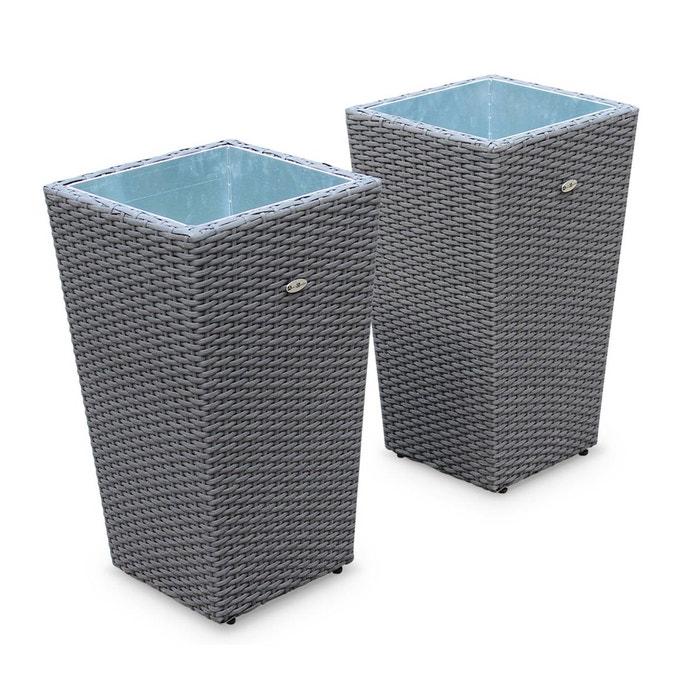 lot de 2 pots de fleurs cache pot en r sine tress e grise vases de 60cm gris alice s garden. Black Bedroom Furniture Sets. Home Design Ideas