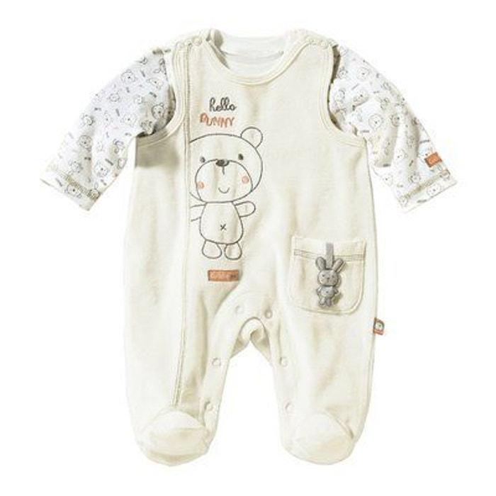 Bornino grenouillère en velours ras avec t-shirt bébé ensemble... blanc  Bornino  dd0d5cf6598