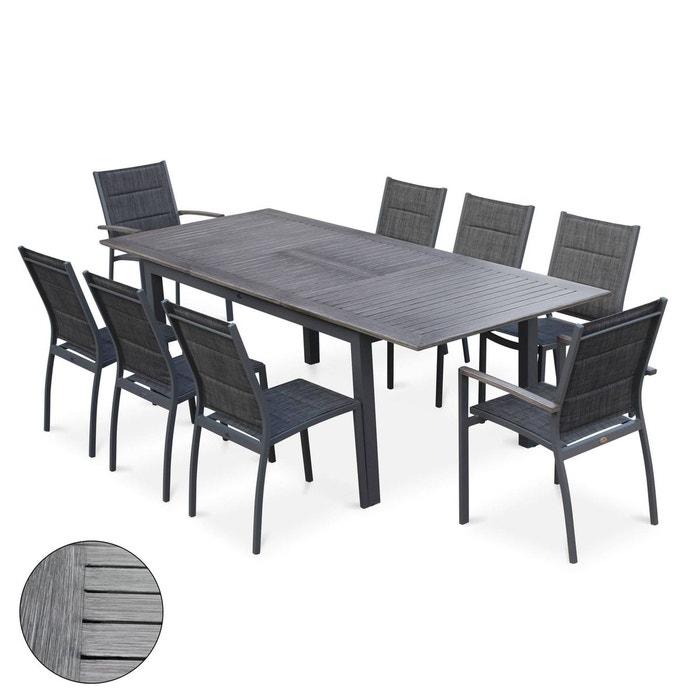 Salon de jardin chicago 8 places aluwood effet bois vieilli table à ...