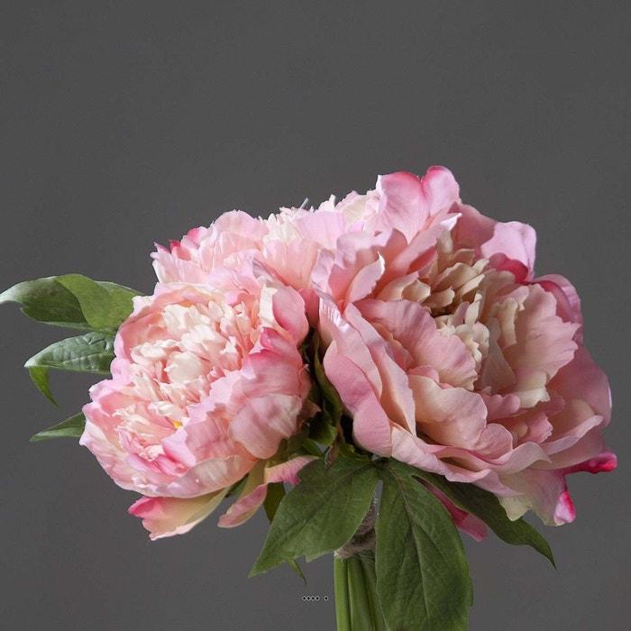 bouquet de 3 pivoines rose epanouies artificielles corde et feuillage h 26 cm choisissez votre. Black Bedroom Furniture Sets. Home Design Ideas
